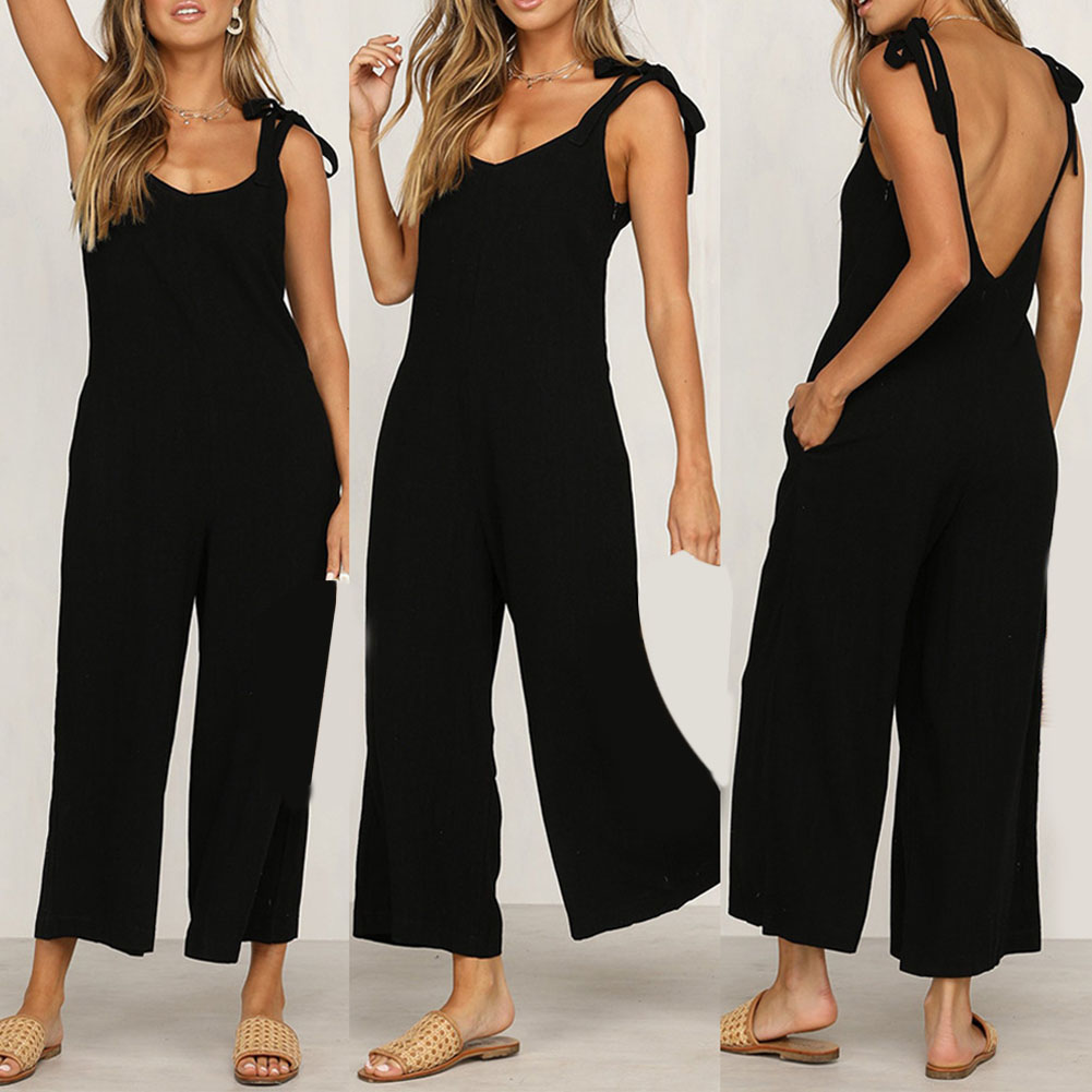 Sexy Solid Backless   jumpsuits   women V neck spaghetti strap long overalls Summer beach loose female   jumpsuit   2019