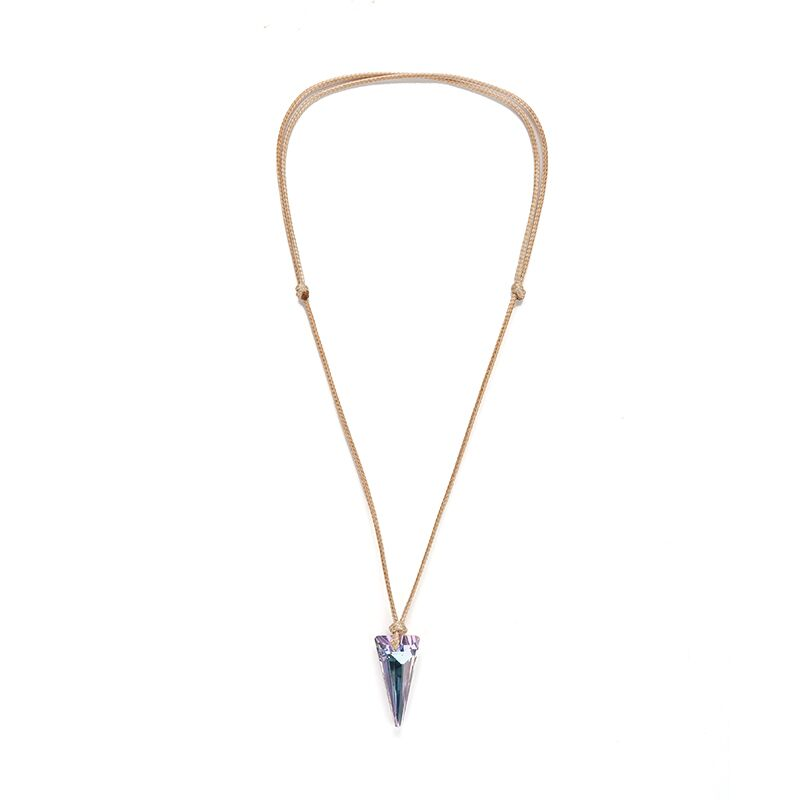New Bling Sparkly Triangle Crystal Faceted Pendant Adjustable Length Summer Necklace Crystal Pendant Chockers for Women in Pendant Necklaces from Jewelry Accessories