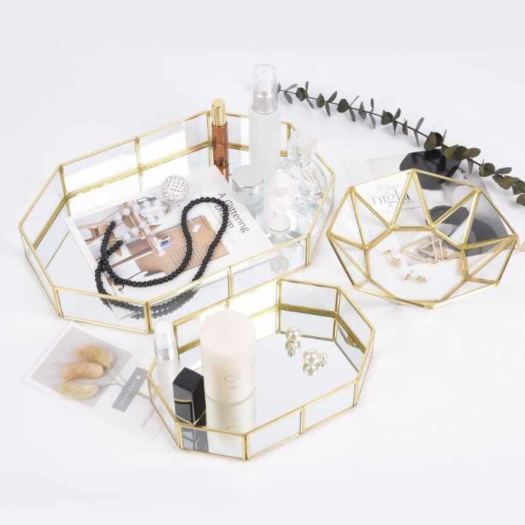 INS Nordic Mewah Kaca Piring Piring Kue Kosmetik Perhiasan Penyimpanan Tray Dessert Table Rak Display Permen Plate