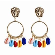 ECODAY Metal Shell Long Earrings for Women Drop Pendientes Mujer Oorbellen Brincos Summer Beach Jewelry