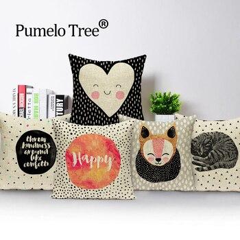 Fundas de almohada con cubierta nórdica de animales de dibujos animados, cojines de lino para exteriores, cojines estampados alegres, fundas decorativas personalizadas