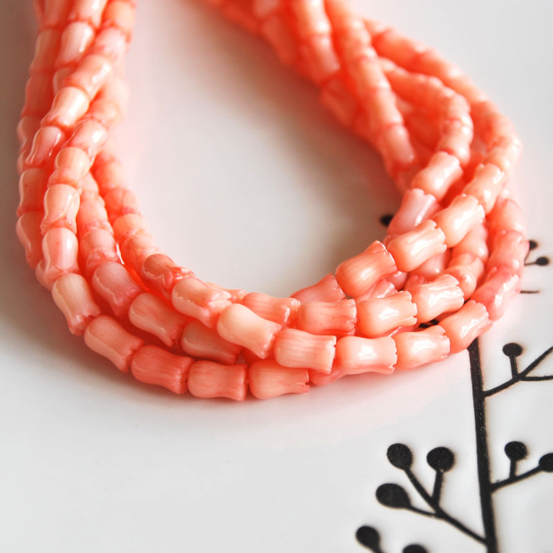 Natural Coral Pink Carved Tulips Flower Loose Beads Gemstone DIY Jewelry Making