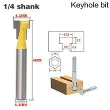 """Coupeur de trou de serrure en T et fente en T, 6.35mm, 1/4 """", manche en acier de mèche pour bois, longueur 3/8"""" et 1/2 """", 1 pièce"""