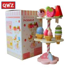 QWZ תינוק צעצועי סימולציה מגנטי גלידת צעצועי עץ העמד פנים שחק מטבח מזון תינוק תינוקות צעצועי מזון יום הולדת מתנה לחג המולד