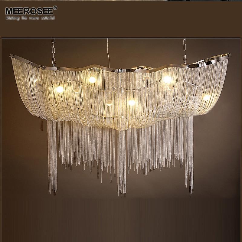 Aluminum Chain Chandelier Light Fixture Vintage Empire Suspension Lamp French Chain Hanging Lustre for Living room Restauran