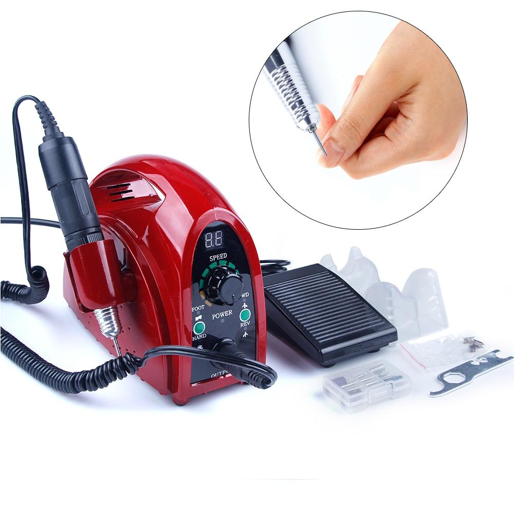 35000 rpm Elétrica Aparelho para Gel Manicure Cuticle Remover Pedicure Nail Art 65 w Máquina de Moagem Brocas de Moagem Cortadores