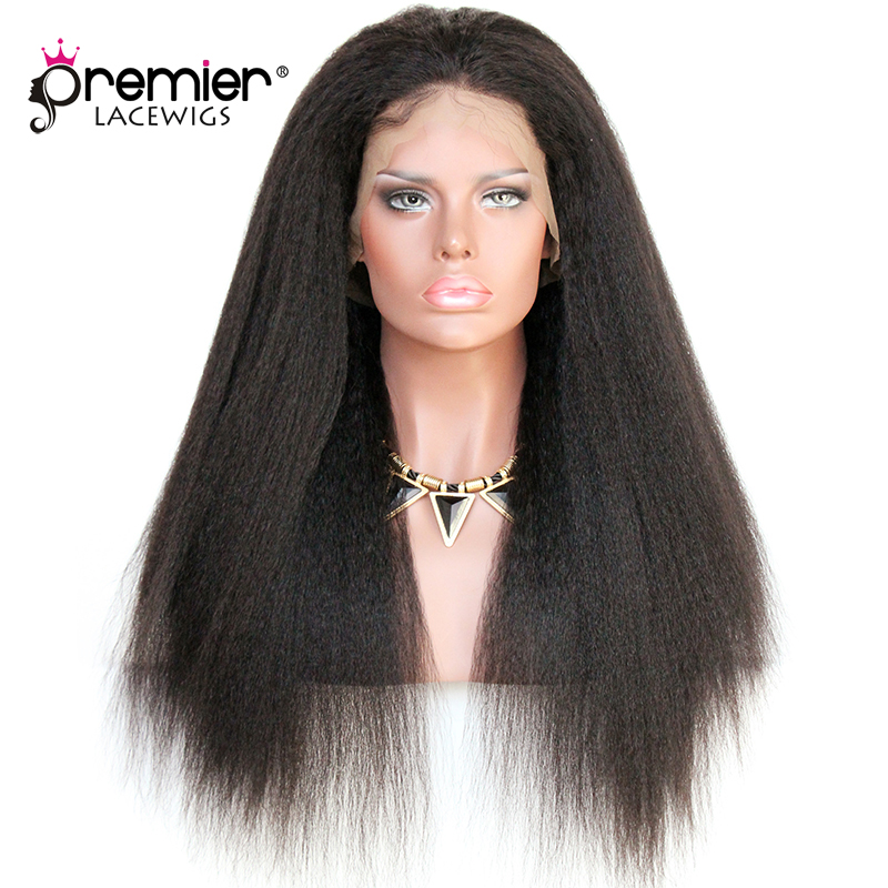 Premier 360 Lace Wigs Kinky Straight Indian Remy Human Hair,150% Thick Density,Pre-Plucked Hairline [360LW05]