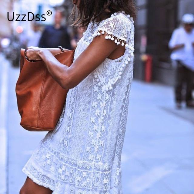 UZZDSS Summer Dress 2017 Women Casual Beach Short Dress Tassel Black White Mini Lace Dress Sexy Party Dresses Vestidos S-XXL