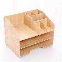 Combination file management file blue storage file basket information frame wooden multilayer file column 321X235X258mm