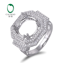Caimao 14K White gold Natural 1.26ct Diamond Engagement Ring Jewelry Semi Mount 11.5mm Round Cut Setting