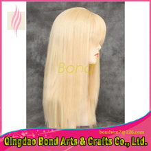 Fashion brazilian virgin hair straight glueless full lace human hair wigs for women blonde color lace front wig with bang #613