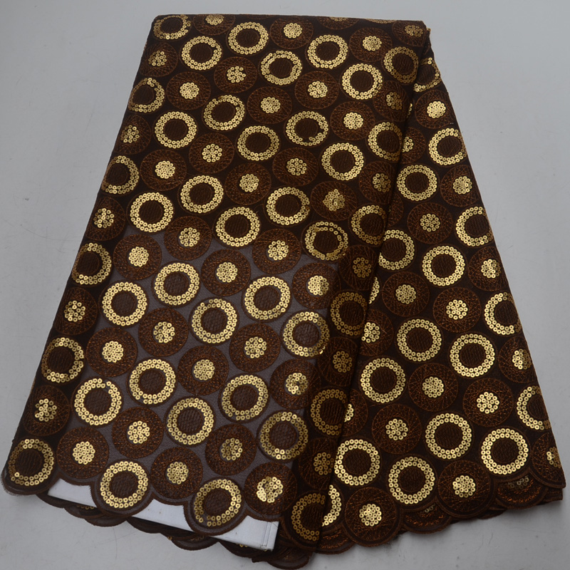 Free shipping 5yards pc High quality African double organza lace fabric in coffee and gold with