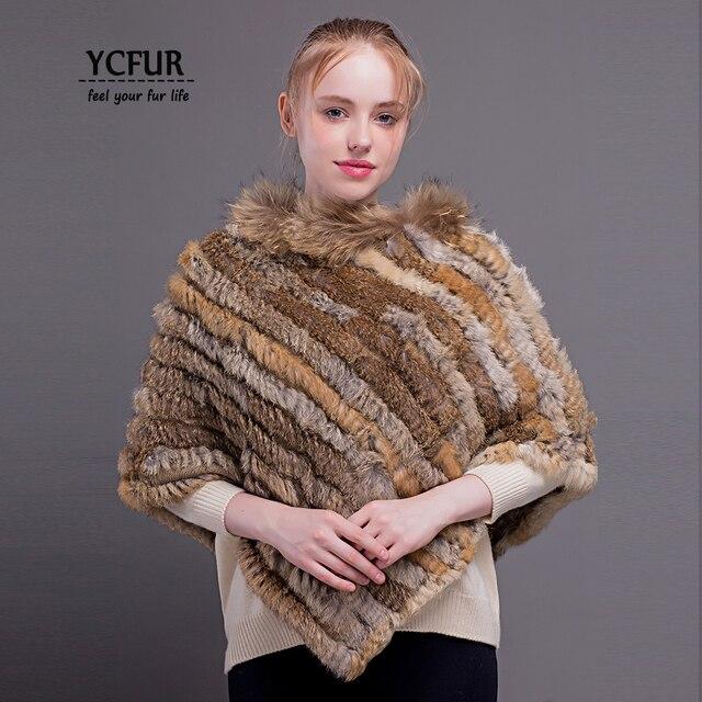 YCFUR Women Stoles Ponchos Winter Knit Rabbit Fur Ladies Shawls Scarves With Raccoon Dog Fur Collar Winter Warm Poncho Women