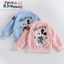 Baby Clothes Cartoon Mickey Pattern Girls Boys Jackets Coats Toddler Kids Jacket Outwear Baseball Windproof Children Clothes New(China)