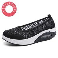 TESILIXIEZI 2017 New Women S Vulcanize Shoes Lace Mesh Wedges Shoes For Women S Flats Shoes