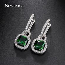 Newbark estilo vintage de lujo big green stone pendientes para las mujeres de moda de bloqueo de talla princesa cubic zirconia piedra de cristal
