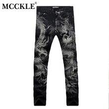 Mcckle neue schwarze jeans männer 100% baumwolle drachen muster marke Designer Herren Gedruckt Jeans Slim Fit Denim Herren Jeans Jogger Q1413