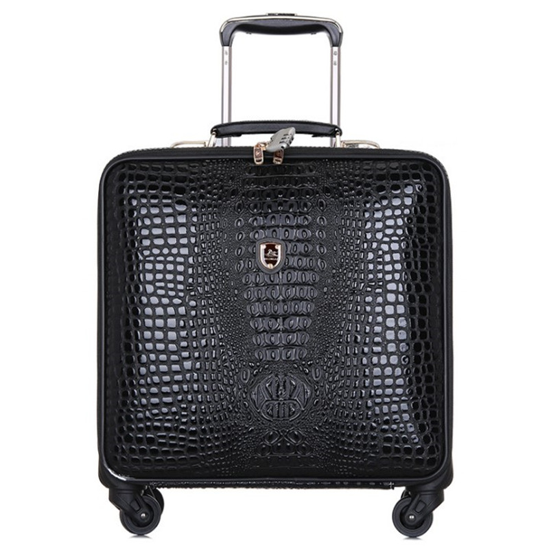Us 136 87 19 Off High Quality Retro Luggage 16 Inch Men Commercial Pu Crocodile Pattern 4 Wheels Trolley Travel Suitcase Bag Woman Computer Bags In