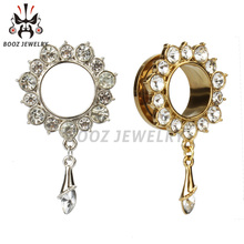 2016 fashion dangle crystal ear stretchers stainless steel body jewelry piercing gauges ear plugs and tunnels