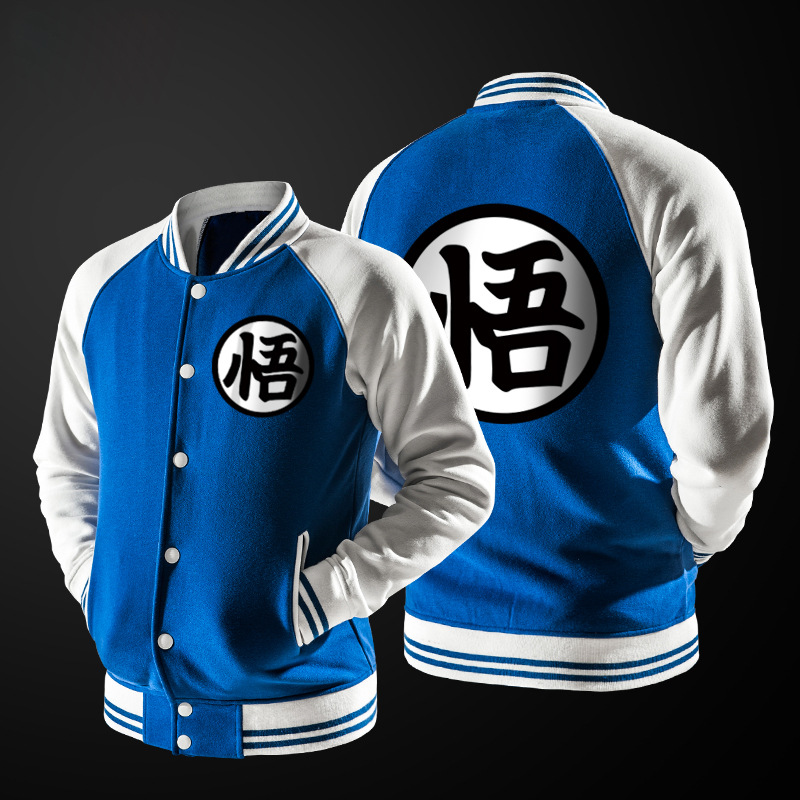 New Trend Blue Baseball Jacket Men Veste Homme 2016 Anime Comic Fashion Goku Soft Cotton Light Weight Bomber Varsity Jackets