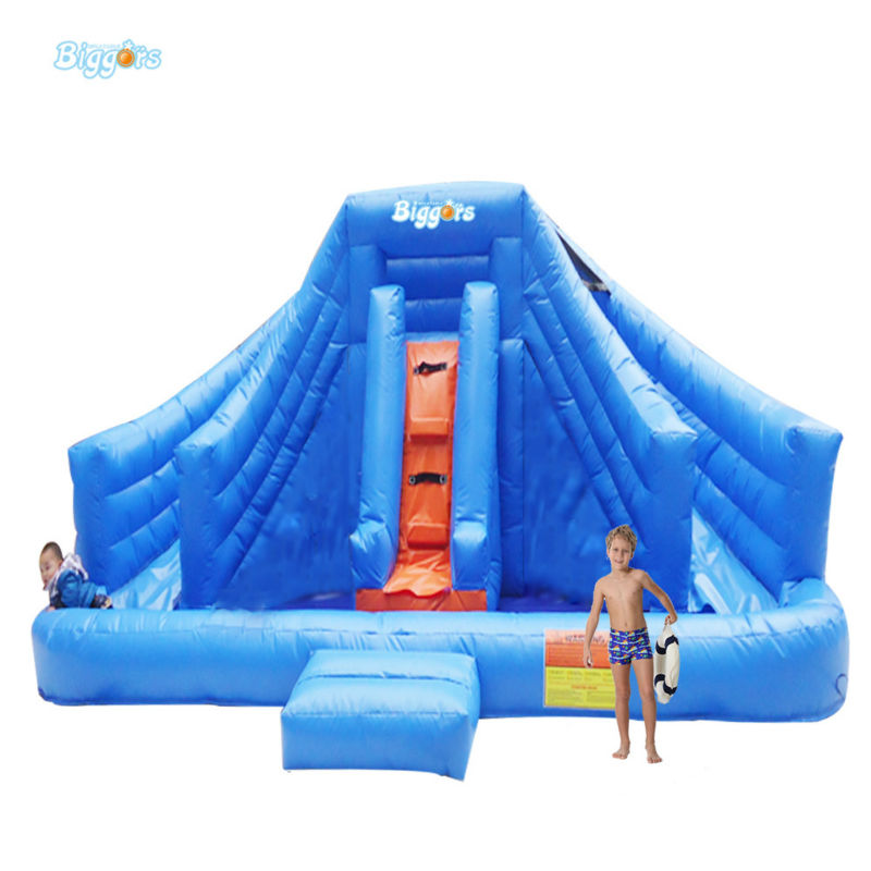 Inflatable Biggors Inflatable Water Slide With Pool For Sale Blue Large Commercial Rental commercial inflatable water slide with pool made of pvc tarpaulin from guangzhou inflatable manufacturer