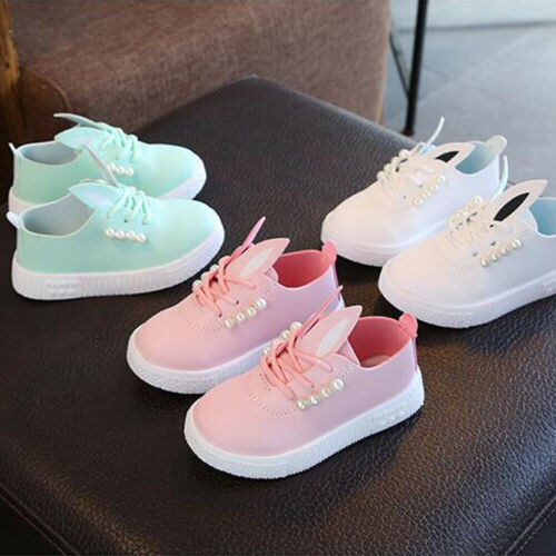Fashion Cute Kids Baby Girls Solid Summer Shoes Rabbit Ears Pearl Casual Bandage Canvas Soft Shoes