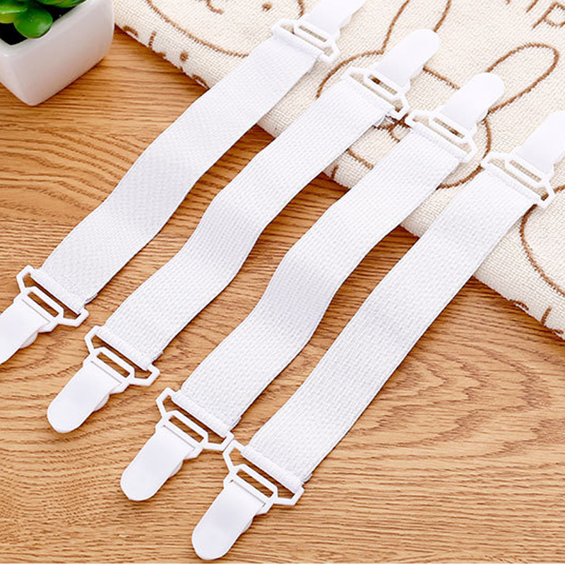 4PCS White Sheet Mattress Cover Blanket Clip Holder Fastener Elastic Set Clip Non-slip Elastic Band Fixer Tablecloth Fixing Tape