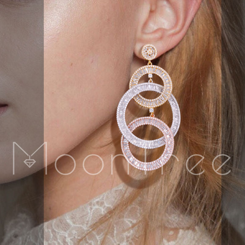 MoonTree 76mm Luxo Três Forma Redonda Dangle