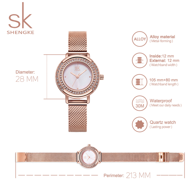 Rose Gold Watch Women Crystal Dial