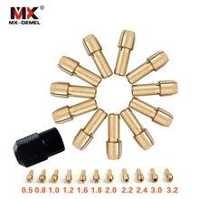 MX-DEMEL 12 шт./компл. латунь цанговый патрон 0,5/0,8/1,0/1,2/1,6/1,8/2,0/2,2/2,4/3,0/3,2 мм+ M8* 0,75 патрон для вращающихся инструментов Dremel