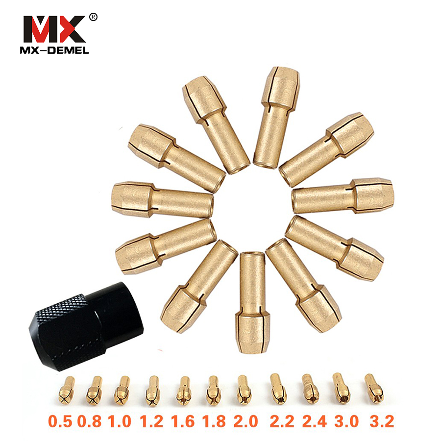 MX-DEMEL 12 Pcs/set Brass Collet Chuck 0.5/0.8/1.0/1.2/1.6/1.8/2.0/2.2/2.4/3.0/3.2mm + M8*0.75 Chuck For Dremel Rotary Tools