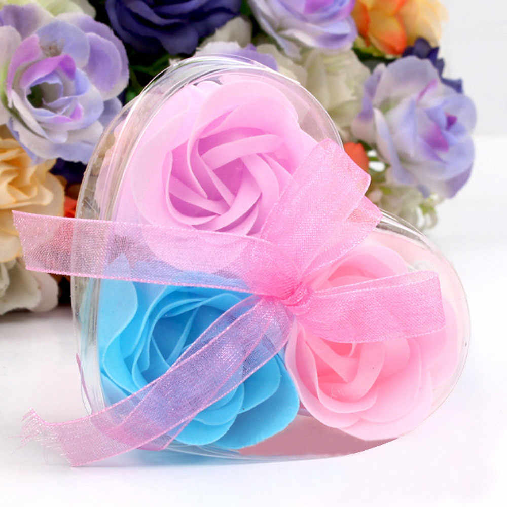 3Pcs beautiful Heart Scented Bath Body Petal Rose Flower Soap Wedding Decoration Best Valentine's Gift 2019 NEW Dropshipping