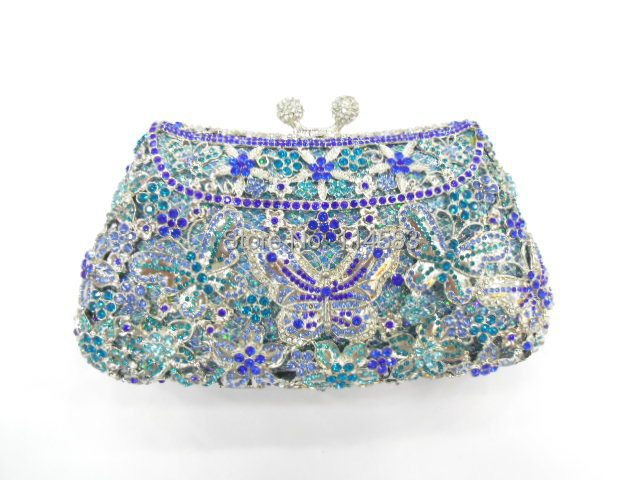 8249B Crystal BUTTERFLY Flower Floral Bridal Party hollow Metal Evening purse clutch bag font b handbag