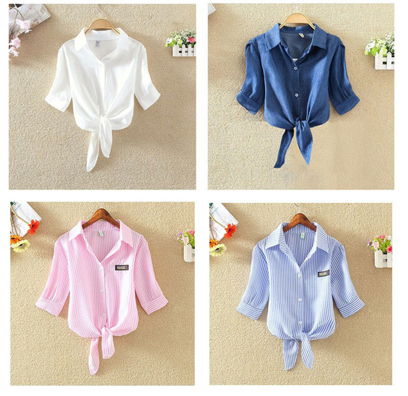 HTB18 jqRFXXXXXCXXXXq6xXFXXXQ - Women Shirts Korean Short Sleeve Flower Embroidery Clothes