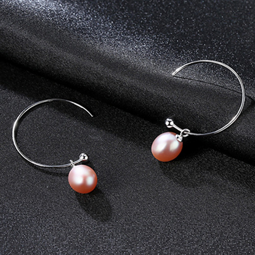 CZCITY Big Circle Bohemian 925 Silver Earrings Natural FreshWater Pearl Women Earrings White Pink Purple Black Wholesale Price