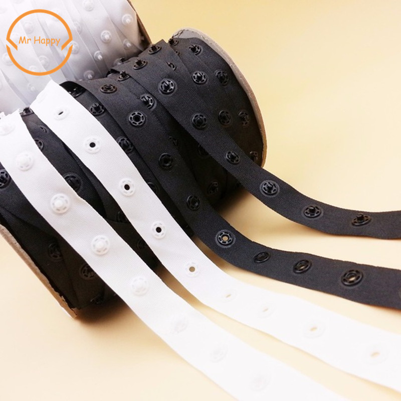 5yd/lot 8mm Black White Plastic Snap Button Tape Ribbons Crafts Sewing & Fabric Garment Sewing Accessories Scrapbooking DIY