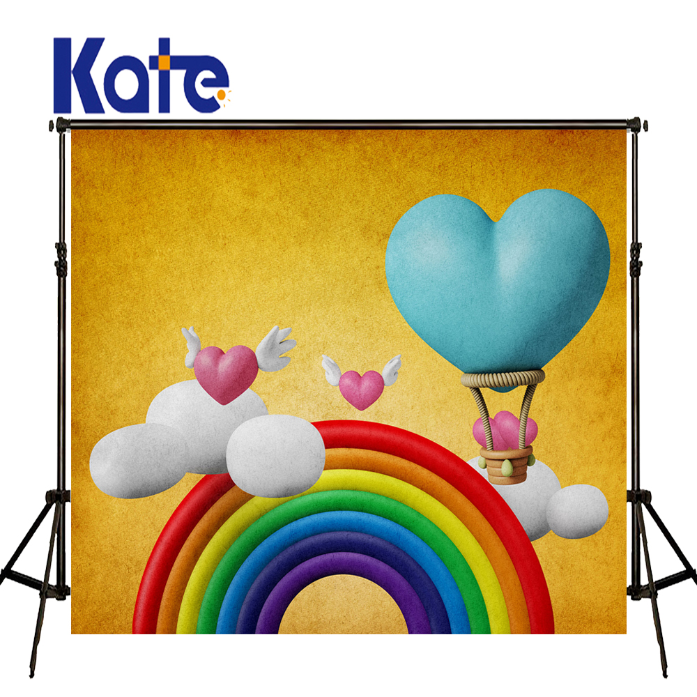 KATE Valentine's Day Photo Photography Backdrops Cartoon Kids Backgrounds Rainbow Blue and Pink Love Backdrop for Photo Studio 8x10ft valentine s day photography pink love heart shape adult portrait backdrop d 7324