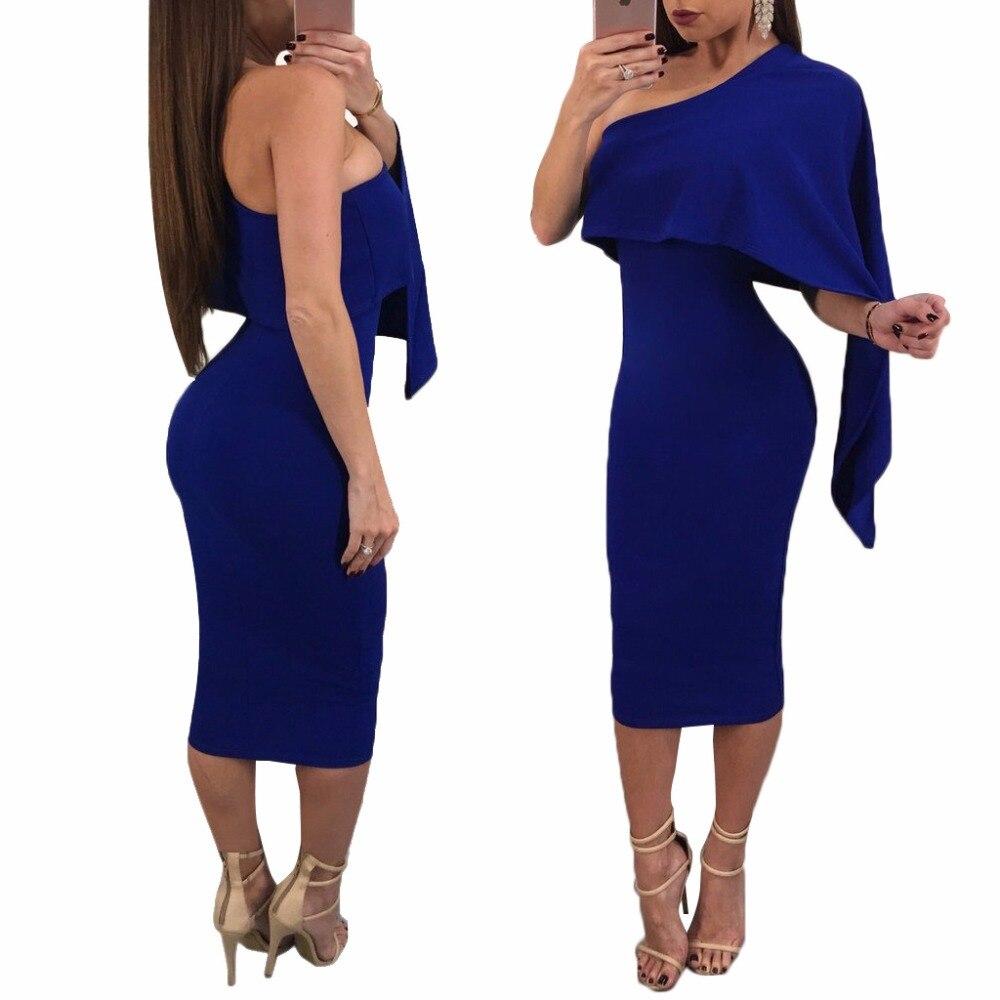 Asymétrique Cape Manteau Une Épaule Parti Robe Femme Robe Ete Mode Femmes Noir Bleu Sans Manches Ruches Midi Moulante Robes