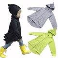 90-130 cm niños ropa de abrigo niños bebé capa de la muchacha chaquetas con Estilo de conejo niños tops Dinosaurios Ropa de Marca