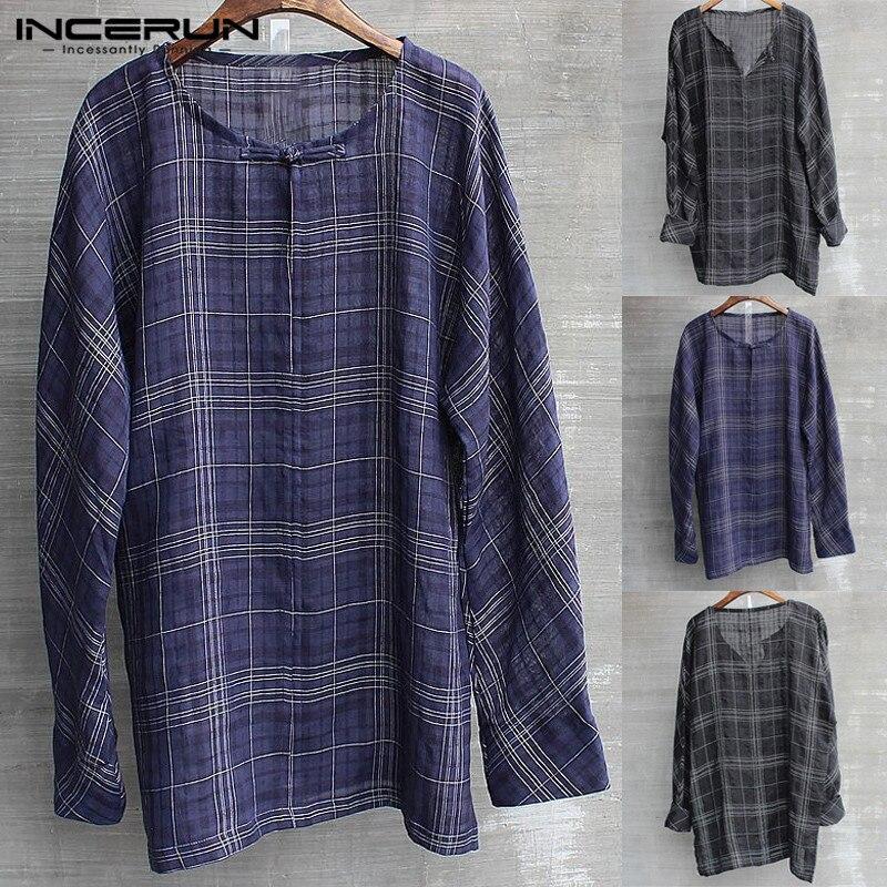 Streetwear Man T Shirts Long Sleeve Cotton Tee Hiphop Casual T-Shirts Lattice Loose Retro Button Plus 5XL Men Clothes Camisas