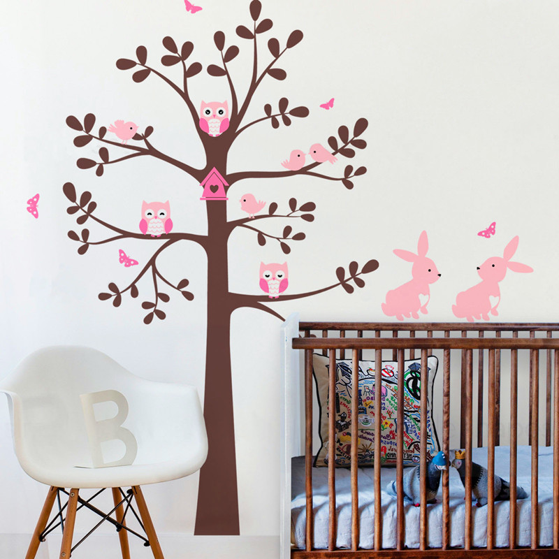 Huge Tree Wall Decal With Animals Stickers, Owls Rabbit Bird Tree Wall Decor, Shelving Tree Decal, Nursery Butterfly Tree Decals