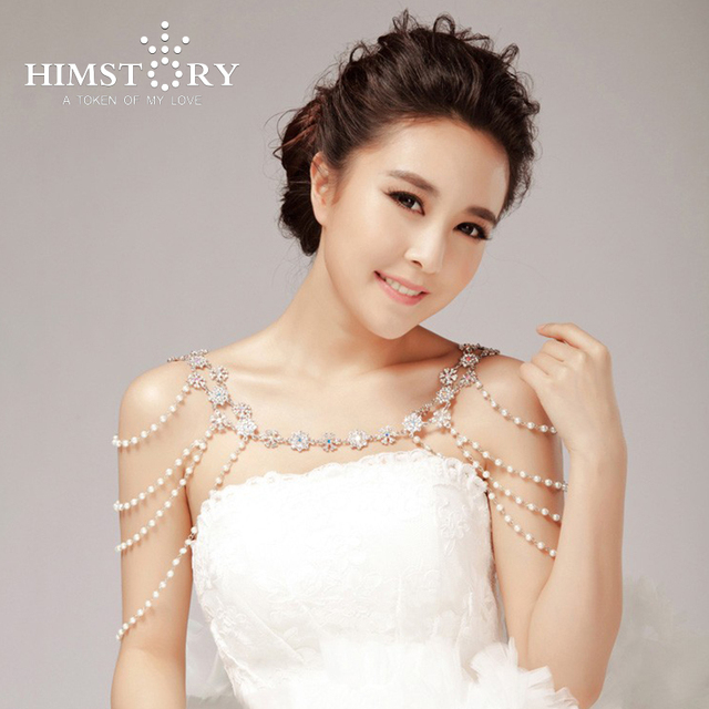 New Pearl Bridal Jewelry Shoulder Strap Chain Necklace Hair Accessory  3  Use Wedding Party Accessories