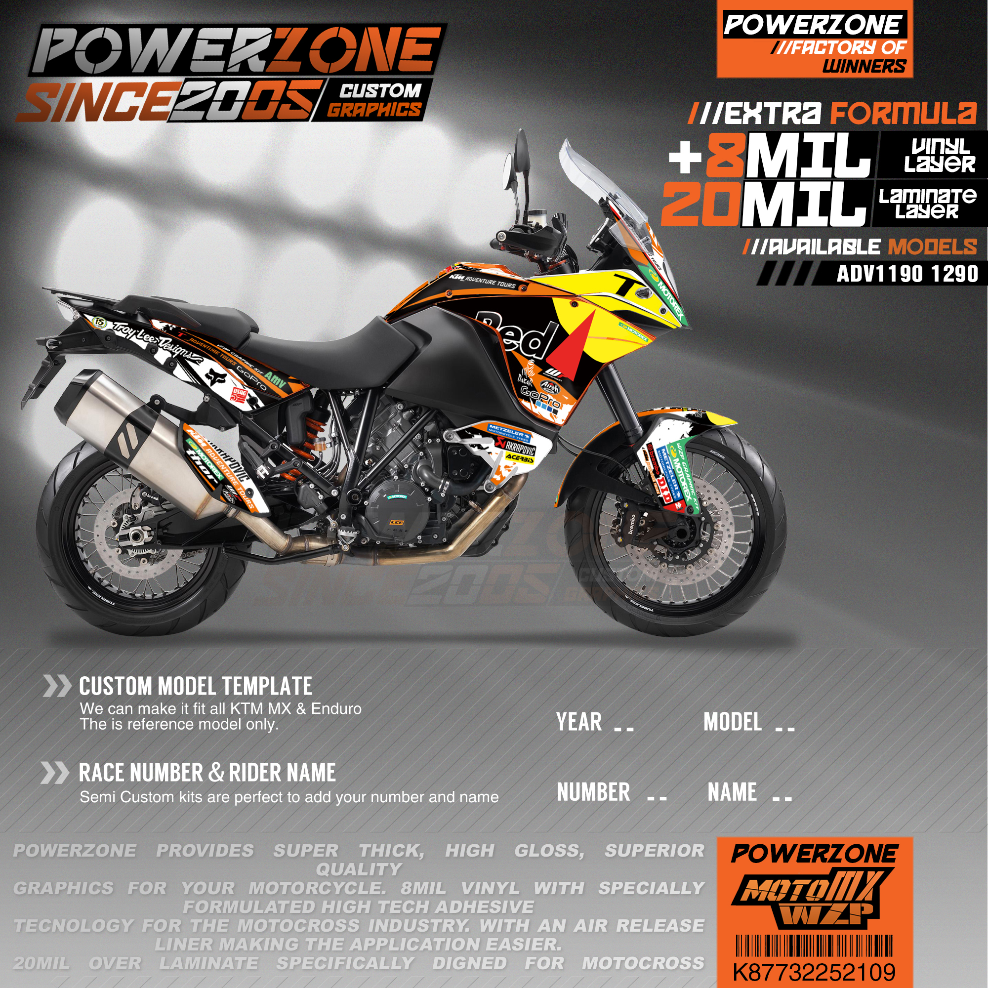 PowerZone Custom Team Graphics Backgrounds Decals 3M Stickers Kit For KTM ADV 1050 1090 1190 1290 109