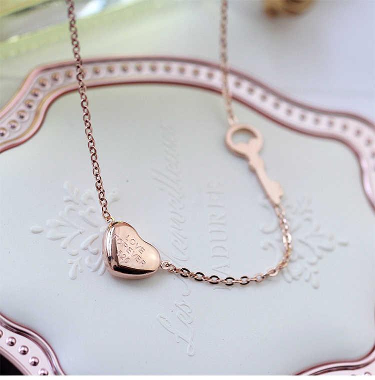 YUN RUO Marchio di Moda Donna Gioielli In Oro Rosa Argento Colore Collana Cuore della Catena 316 L In Acciaio Inox Collares Gioielli
