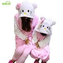 Купить с кэшбэком Flannel Boys girls children's pajamas Panda Pikachu Sleepwear family matching outfits Women home clothing couple pajama sets