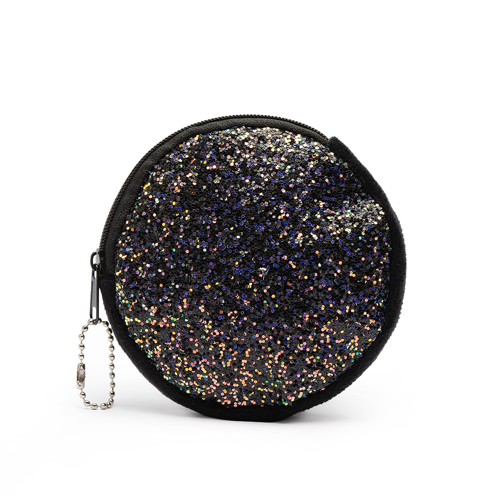 Black Classic Round Creative Cute Sequins Coin Purse Glitter Women Mini Wallet Girls Money Change Keys Bag Party Clutch Handbag