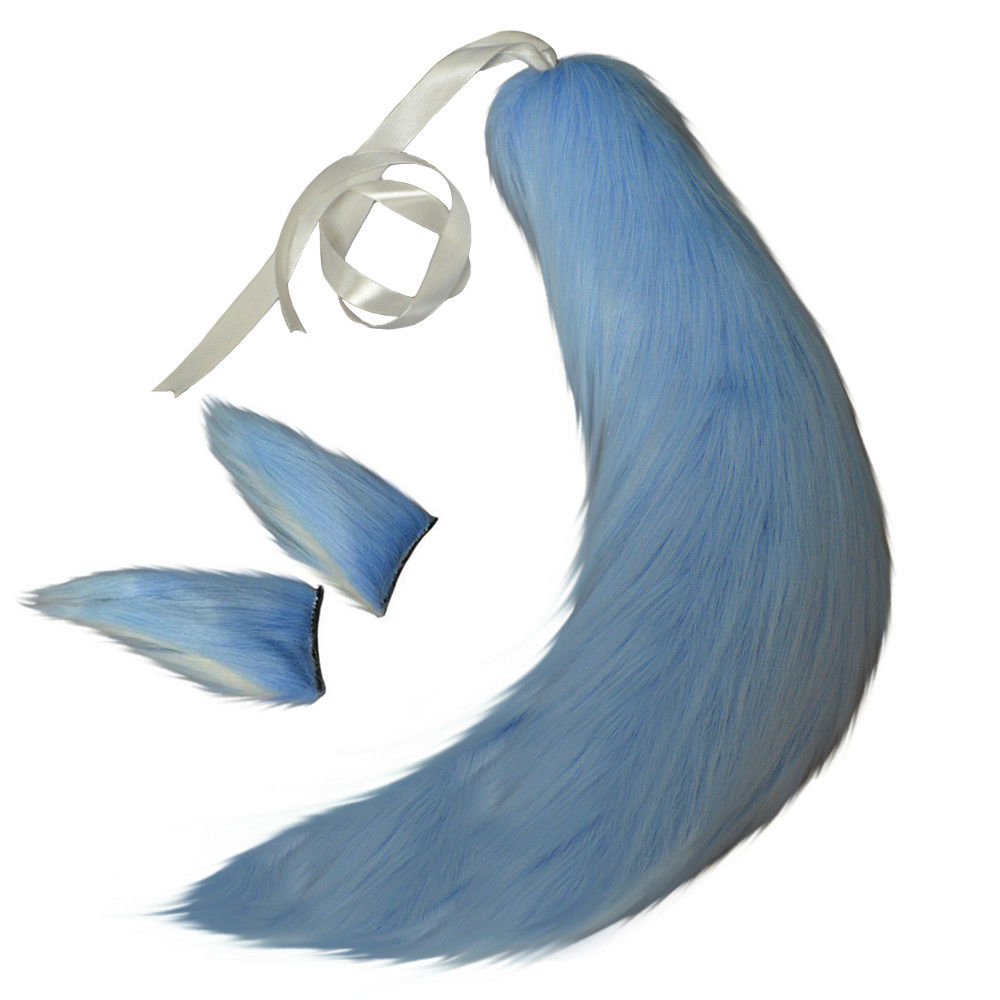Costumes & Accessories Fox Cat Dog Animal Plush Tail Clip Ears Halloween Cosplay Props Anime Spice And Wolf Kamisama Kiss Plushie Tails Soft Fuzzy Toy Costume Props