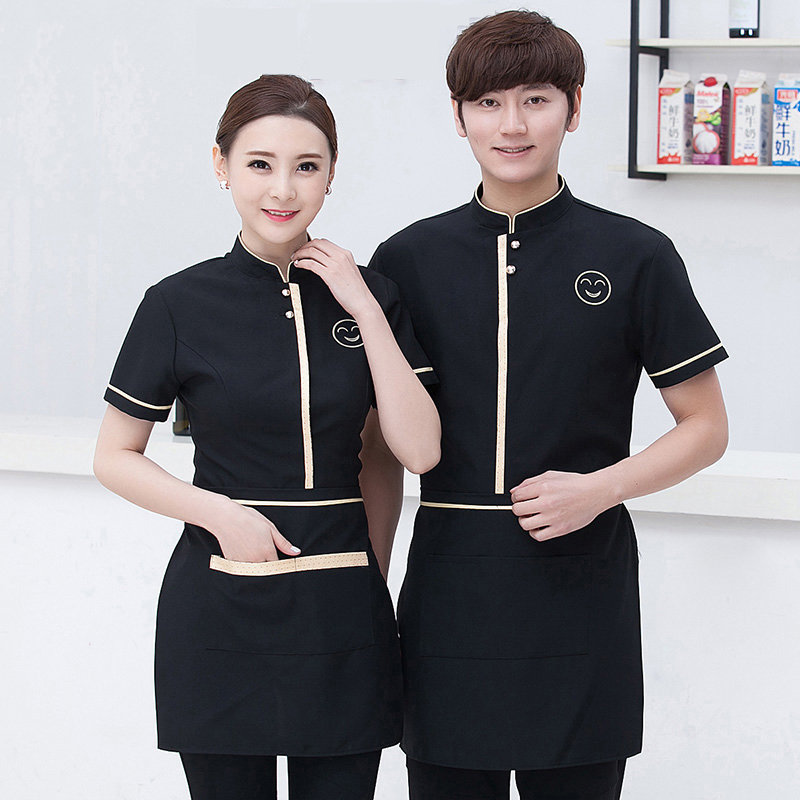 2019 Hotel Uniform Summer Waitress Uniforms Restaurant Cafe Waiter Short Sleeved Shirt Tooling Work Clothes  Top Uniform