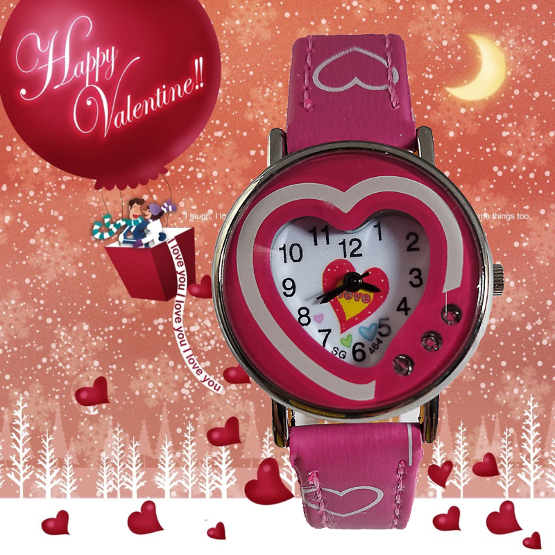 New Kids Watches Fashion Love Heart Leather Children Waterproof Quartz Wristwatches Classic Digital Girls Boys Clock Child Watch