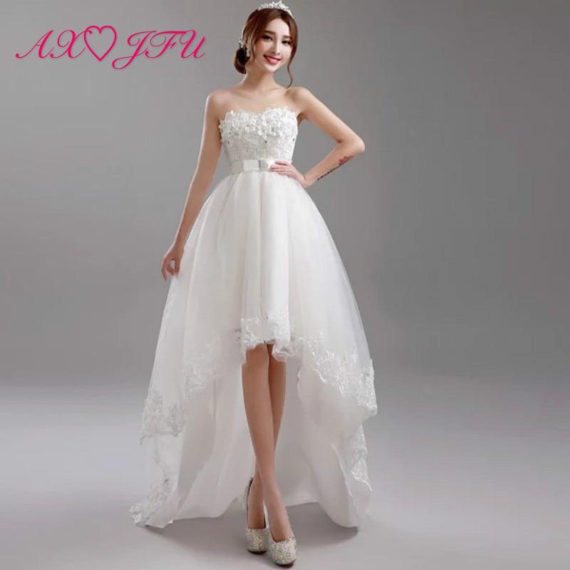 AXJFU Luxury princess white flower wedding dress beading pearls bow high low wedding dress vintage white